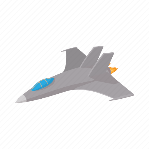 aircraft, airplane, cartoon, fighter, grey, jet, military icon