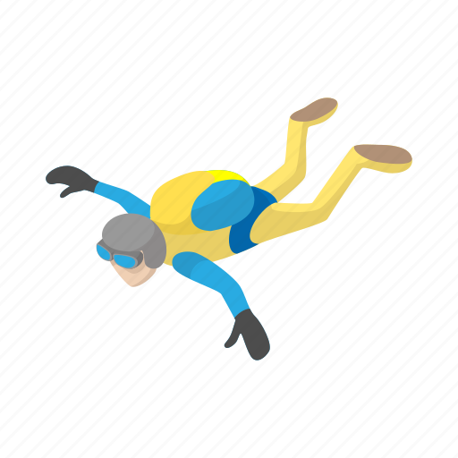 cartoon, extreme, jumpsuit, parachute, parachuting, skydiving, sport icon