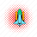 comics, discovery, exploration, rocket, science, spaceship, technology icon