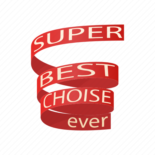 best, cartoon, celebration, choise, decoration, ribbon, super icon