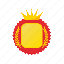 award, cartoon, crown, laurel, rosette, success, wreath icon