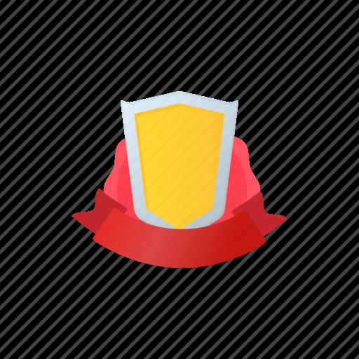 badge, cartoon, crown, frame, gold, ribbon, shield icon