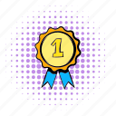 comics, first, halftone, medal, place, purple, rosette icon