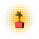 award, comics, gold, halftone, orange, star, trophy icon