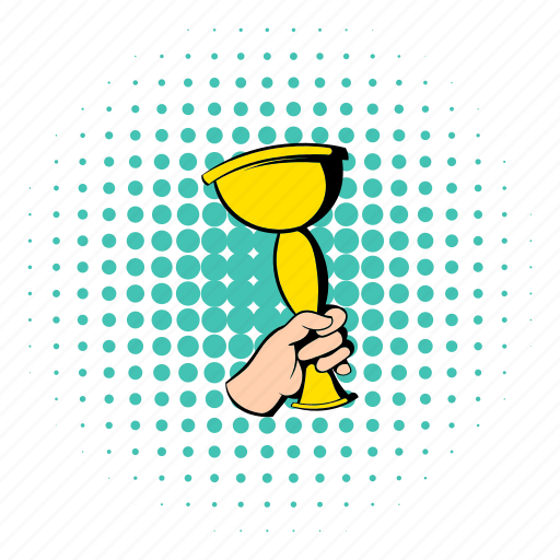 comics, cup, golden, halftone, hand, holding, trophy icon