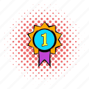 comics, first, halftone, medal, pink, place, purple icon