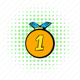 comics, first, gold, halftone, medal, place, ribbon icon