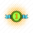 comics, first, halftone, medal, orange, place, ribbon icon