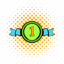 comics, first, halftone, medal, orange, place, ribbon icon