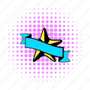 award, comics, halftone, purple, ribbon, star, trophy icon