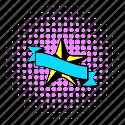 award, comics, halftone, purple, ribbon, star, trophy icon