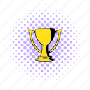 comics, cup, gold, golden, halftone, purple, trophy icon