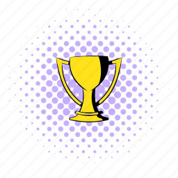 comics, cup, gold, golden, halftone, purple, trophy icon
