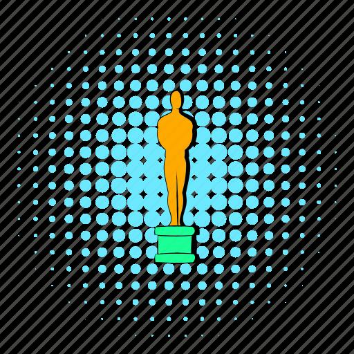 award, ceremony, comics, gold, halftone, man, statue icon