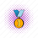 comics, first, gold, halftone, medal, place, purple icon
