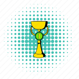 comics, cup, first, gold, halftone, place, trophy icon