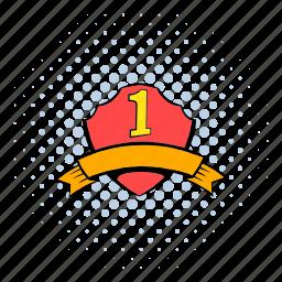 comics, first, halftone, orange, place, ribbon, shield icon