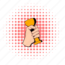 comics, cup, golden, hand, holding, pink, trophy icon
