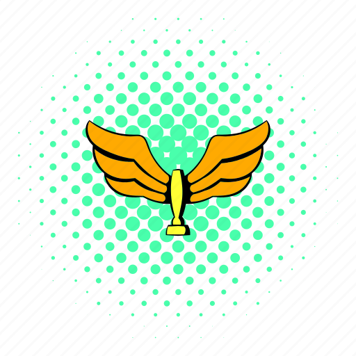 comics, goal, gold, golden, halftone, trophy, wing icon