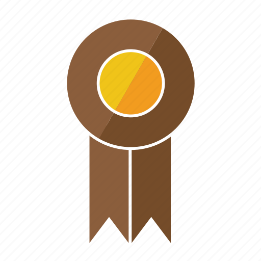 award, brown, medal, ninth, prize, ribbon, rosette icon