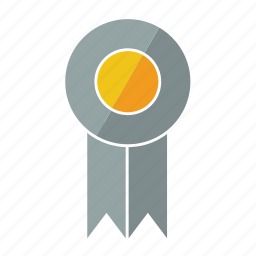 award, grey, medal, prize, ribbon, rosette, tenth icon