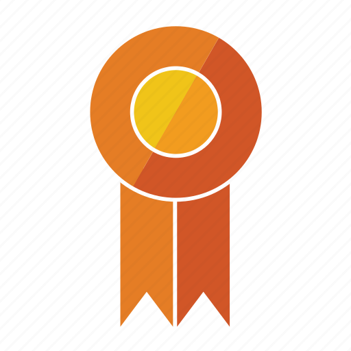 award, medal, orange, prize, ribbon, rosette, sixth icon