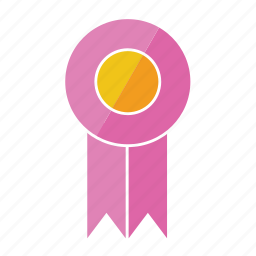 award, medal, pink, prize, ribbon, rosette, seventh icon
