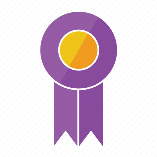 award, eighth, medal, prize, purple, ribbon, rosette icon