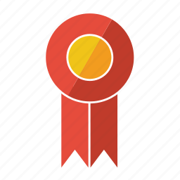 award, medal, prize, red, ribbon, rosette, second icon