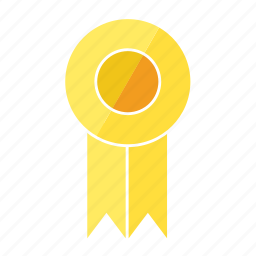 award, fourth, medal, prize, ribbon, rosette, yellow icon
