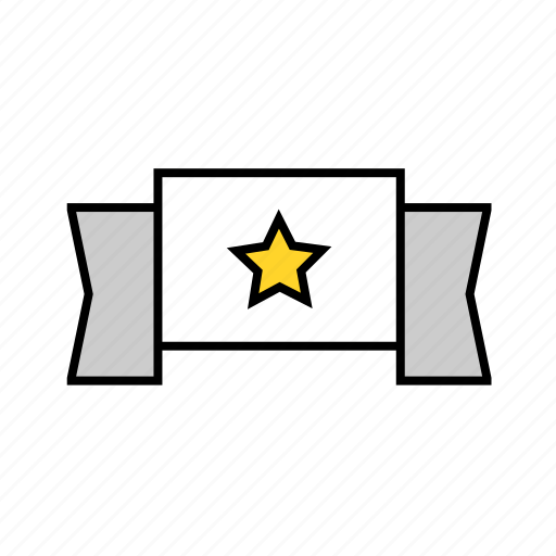 banner, ribbon, star, winner icon