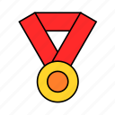 award, circle, gold, medal, round, win icon