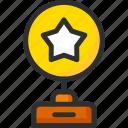 achievement, award, prize, star, statuette, trophy, win