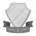 award, emblem, first, prize, ribbon, shield, trophy