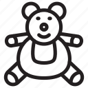 teddy, bear, animal, child, stuffed, toy