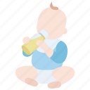 baby, bottle, childhood, drinking, early, milk, nutrition icon