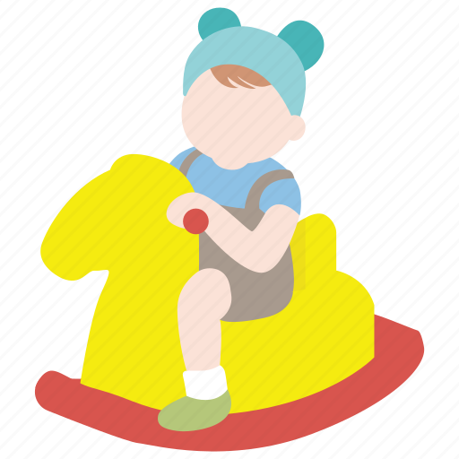 baby, childhood, horse, infant, riding, rocking, toddler icon