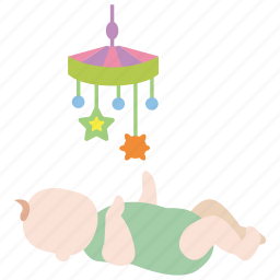 baby, child, cot, crib, infant, mobile, toy icon