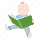 infant, reading, book, child, baby, toddler, kid