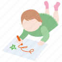 art, child, drawing, girl, kid, picture, toddler icon