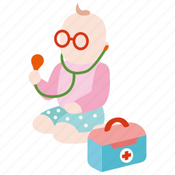 baby, doctor, kid, playing, toddler icon