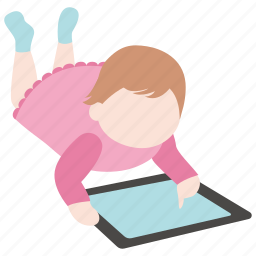 child, kid, screen, tablet, technology, toddler, touch icon