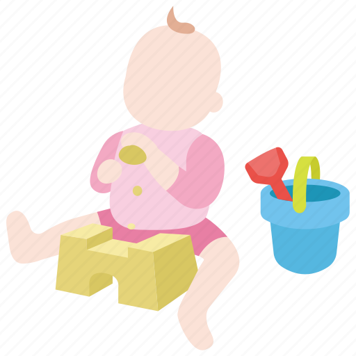 baby, beach, child, kid, sand, sandcastle, toddler icon