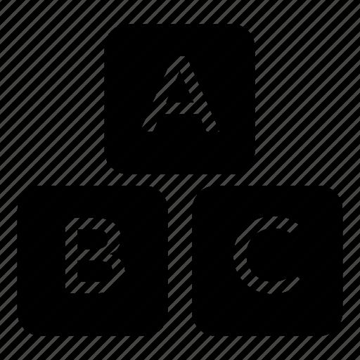 abc blocks, alphabet blocks, alphabetics, child learning, primary education icon