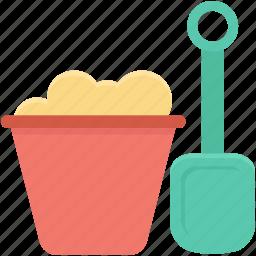 bucket, construction tool, shovel, spade, spade tool icon