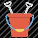 toy sand pail, beach toys, sand toys, bucket and spade, beach sand play set, outdoor toys icon