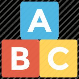 abc block, alphabet blocks, alphablocks, education, kindergarten icon