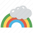 cartoon rainbow cloud, colorful rainbow, rainbow, rainbow and cloud, weather icon