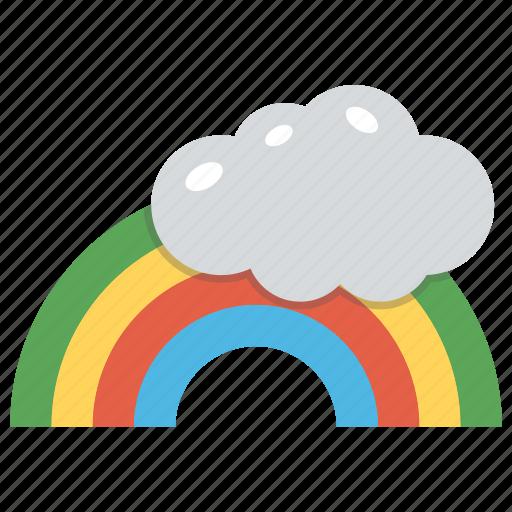 cartoon rainbow cloud, colorful rainbow, rainbow, rainbow and cloud, weather icon