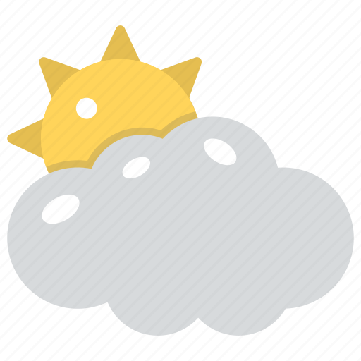 climate, cloud and sun, fluffy cloud and sun, puffy cloud with sun, weather icon
